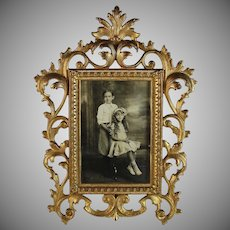Antique Gilded Cast Iron Photo Picture Frame