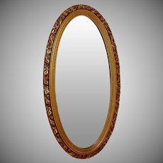 "Extra Long Vintage Gilded Oval  Mirror 45"" tall"