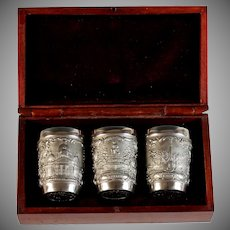 Vintage Imperial Russian Saint Petersburg Pewter Souvenir Vodka Shot Cups in Box