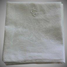 12 Antique French White Monogrammed Napkins C L