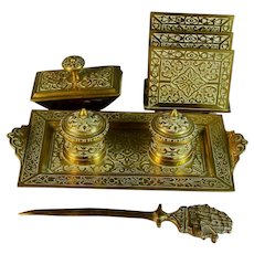 Antique Gilded Bronze Desk Set ( 4 Pieces ) Germany