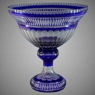 Huge Cobalt Blue Cut-To-Clear Bohemian Glass Centerpiece