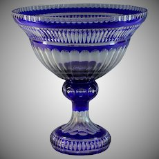 Huge Cobalt Blue Cut-To-Clear Bohemian Glass Centerpiece