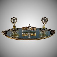 Vintage Mirrored Vanity Tray with Two Perfume Bottles and Lipstick Holder