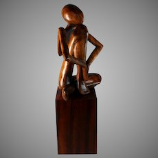 Abstract Wood Sculpture of a Female Form Mid Century Modern