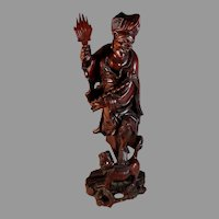 "Chinese Wood Carving of a Man 14"" Root Carving"