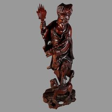 """Chinese Wood Carving of a Man 14"""" Root Carving"""