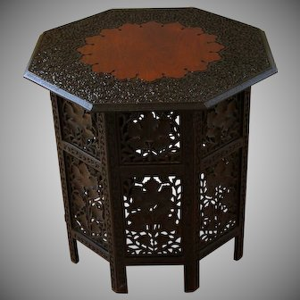 Antique Wood Chinese Carved Side Table
