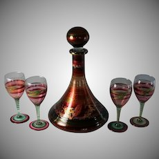 Hand painted Glass Decanter Set with 4 Glasses Signed