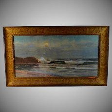Coastal Seascape View Watercolor by H.J Leach