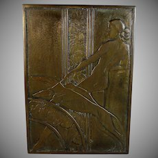 """Art Deco Bronze Plaque of a Nude Lady with Two Dogs 12"""" by 8 1/2"""""""