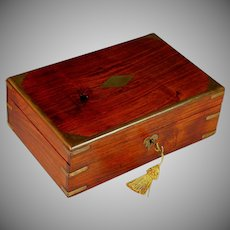 Antique Wood Dresser Box with Brass Appliques and Working Key