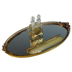 Vintage Vanity Tray with Perfume Bottles in Holder and Comb