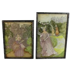 Set of Antique Handwoven Silk Pictures Tapestry