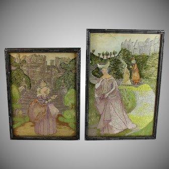 Set of Antique Stevengraph Silk Woven Pictures