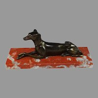 Antique French Sculpture of a Dog on an Antico Rosso Marble Base