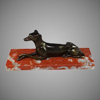 Antique French Sculpture of a Whippet on an Antico Rosso Marble Base