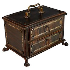 Antique French Jewelry Box with Feet, Handle and Drawers