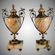 Set of Antique French Bronze and Marble Garnitures Urns