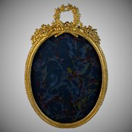 Antique Oval French Bronze Bow Top Photo Frame Easel Back
