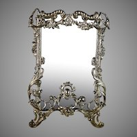 Antique French Floral Silver Metal Photo Picture Frame with Easel