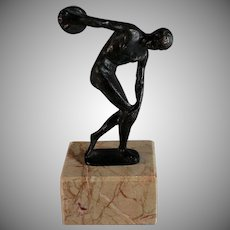 Grand Tour Discobolus Discus Thrower Sculpture on Marble Base