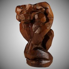 Vintage Abstract Wood Sculpture of a Male Form by J. Gallardo