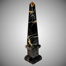 Antique French Nero Portoro Marble Obelisk