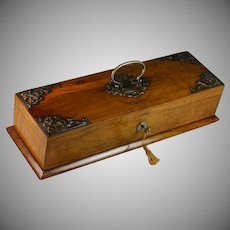 Antique French Walnut Box with Appliques and Handle, Key