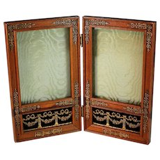 Second Empire Rose Wood Double Traveling Photo Frame