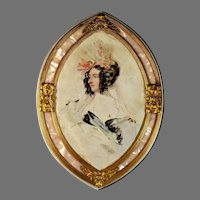 Antique French Unique Marble and Ormolu Frame with Portrait Print