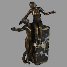 French Bronze Sculpture of a nude Man and Woman on a Marble Plinth