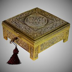 Antique French Brass Filigree Box with Working Key