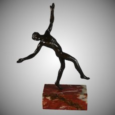 French Bronze Sculpture of a Nude Man Dancing on a Marble Plinth