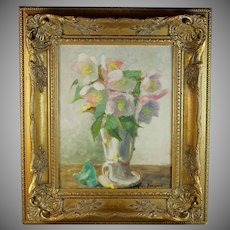 Oil on Board Painting of Flowers by French Artist Gabrielle Peyron-Bernard