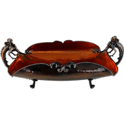 Vintage French Hand Hammered Copper Bowl with Gargoyle Griffin Dragon Handles