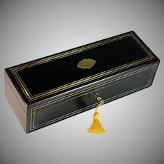 Antique Glove Box of Ebonized Wood with Brass Inlays and Purple Lining Key