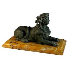 Antique Metal Egyptian Sphinx on Marble Base