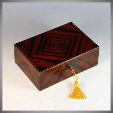 Antique French Calamander Coromandel Box with Working Key