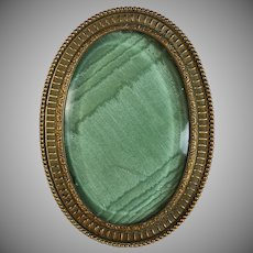 Antique French Bronze Oval Beveled Glass Photo Frame Easel Back