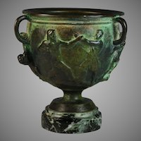 Antique French Bas Relief Bronze Coupe Urn Roman Theme