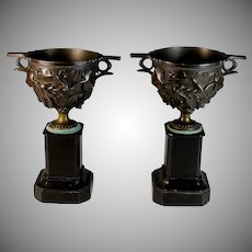 Pair of French Bronze and Marble Pompeii Style Urns