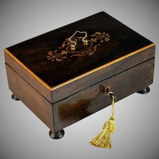 Antique French Inlaid Coromandel Box with Working Key Handle and Feet