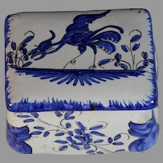 Antique French Faience Box Rooster