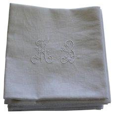 "12 Antique French White Monogrammed Napkins ""M B"""