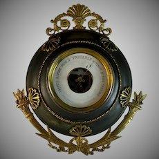 Antique Napoleon III Aneroid Barometer with Ormolu Accents