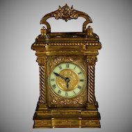Beautiful Antique French Ormolu Traveling Clock Cased