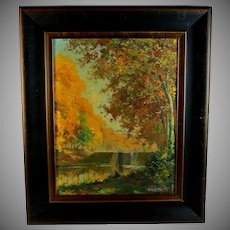 Oil on Panel landscape by French listed artist Jean Torthe (1890-1981)