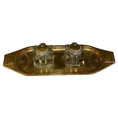 Art Deco Austrian Bronze and Cut Glass Double Inkwell Geschutzt