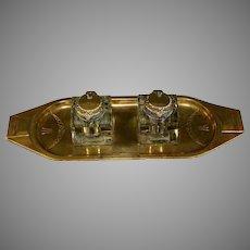 Art Deco Austrian Bronze and Cut Glass Double Inkwell Geschutzt